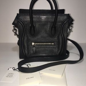 Celine - Black Calfskin Leather Nano Tote Bag